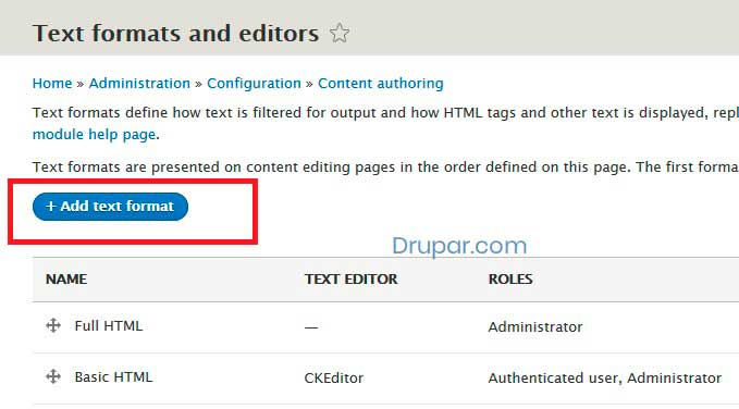 Create a new Text Format without CKEditor in Drupal 8